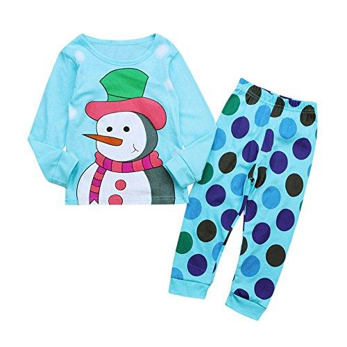 KUKICAT Pyjamas Unisexe Enfant Image de Dessin Animé, Haut à Manches Longues en Coton avec Imprimé Bonhomme de Neige en Coton + Pantalon Deux Pièces Sleepwear
