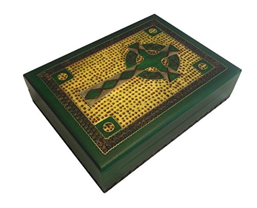 Celtic Cross Box Irish Green Wooden Keepsake Handcrafted Polish Wood Decorative Box w/Brass Inlay
