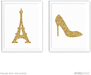 Andaz Press Nursery Wall Art Decor, Gold Glitter Print, Paris Eiffel Tower and High Heels, 8.5x11-inch, 2-Pack, Unframed