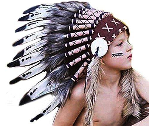 KARMABCN K12 Cappello Indiano 5-8 Anni Ragazzo/Ragazza: pennacchio con Vera Piuma per 21 Pollici o 53,4 cm di Anatra Bianca