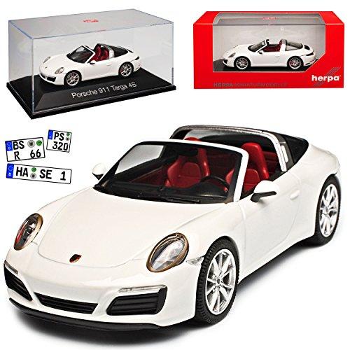 herpa Porsche 911 991 II Targa 4S Cabrio Weiss Modell 2012-2019 Ab Facelift 2015 1/43 Modell Auto mit individiuellem Wunschkennzeichen