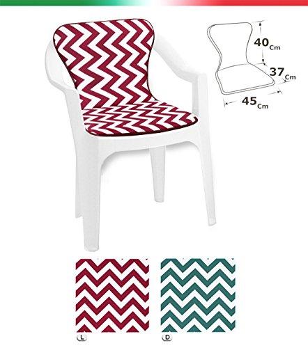 Cojín para silla Universal Rayas Zig Zag plegable piscina playa jardín terraza tela de algodón Mod.Violín