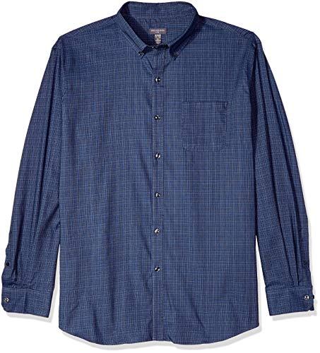 Van Heusen Men's Flex Long Sleeve Button Down Stretch Solid Shirt, Blue Underground, Small