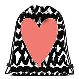 Lmtt Mochilas con cordón Mochila Tarjeta del día de San Valentín con diseño de corazón de Rosas para Prinst Carteles Invitaciones Regalos Bolsas de Gimnasio Mochila Hombro