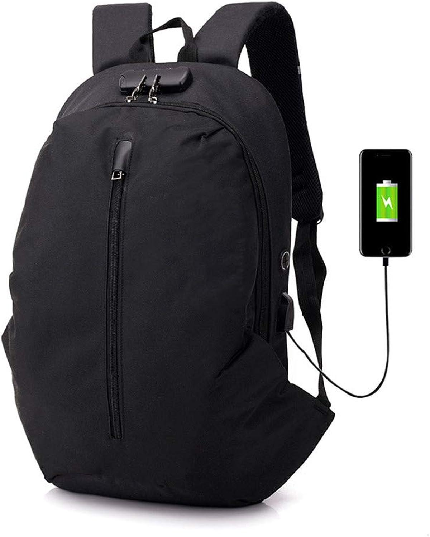Backpack Men's Password Lock AntiTheft Shoulder Oblique Section 15.6  Computer Bag USB Charging Backpack (color   Black, Size   51  30  13cm)