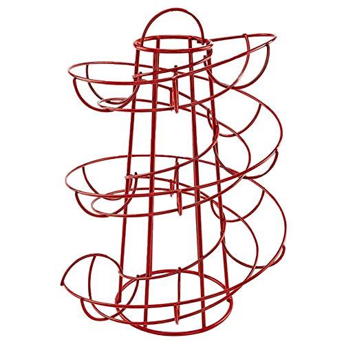 Batchelo Soporte para huevos de almacenamiento de huevos, dispensador moderno en espiral, ahorra espacio, para cesta de huevos para cocina, color rojo