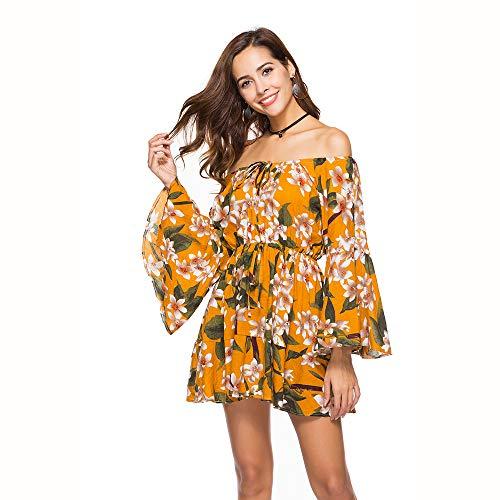 LMH-Jxlsnvp Damen Kleid Freizeitkleider Für Damen EIN Schulterhorn Ärmel Stitching Print Kleid XL Gelb