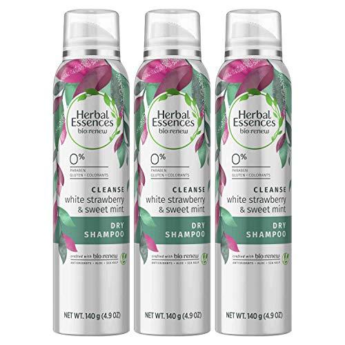 Herbal Essences Dry Shampoo, Paraben Free, BioRenew White Strawberry & Sweet Mint, Aloe and Sea Kelp, 4.9 fl oz, Triple Pack