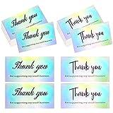 Tarjetas de agradecimiento 100 piezas Tarjetas de Agradecimiento Holográficas Impermeables para Pequeñas Empresas Comercio Electrónico Minoristas Productos Hechos a Mano Folletos para Clientes
