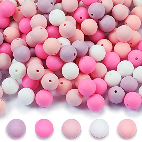 150 Pieces 15 mm Round Silicone Beads Colorful Silicone Teething Beads DIY Silicone Teether Beads Kit Round Loose Baby Chewing Beads for Baby Nursing Chewing Accessory, 5 Colors