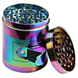 DCOU Durable Zinc Alloy 2.2 Inches Rainbow Herb Grinder 4 Piece with Pollen Catcher Heavy Duty Spice Grinder with Access Window