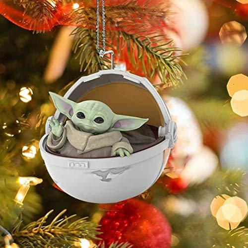 CZSMART Star Wars Yoda Baby Anhänger Weihnachtsbaumschmuck Ornament, offizieller Star Wars Baby Yoda in der schwimmenden Pod, lustiger 3D-Harzanhänger für Jungen und Mädchen