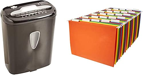 Amazon Basics 6-Sheet High-Security Micro-Cut Paper and Credit Card Home Office Shredder & Hanging Organizer File Fol...