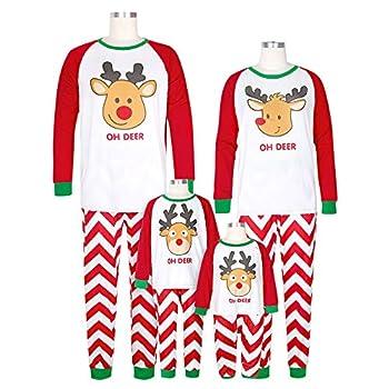 Anasu Men Women Kids T Shirt Blouse Pants Pajamas Family Christmas Pajamas Set Family Clothes Set  Red-Kid 7T