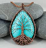 Handmade Tree of life blue turquoise necklace Healing and protection amulet Wire wrapped pendant...