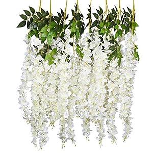 Artiflr 6pcs Artificial Fake Wisteria Vine Garland 3.75 Ft/Piece Silk Wisteria Vine Ratta Hanging Flower for Home Garden Wedding Decor,(White)