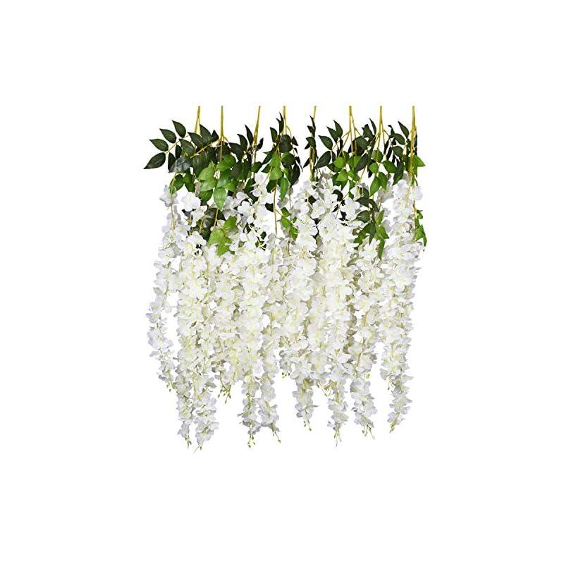 silk flower arrangements artiflr 6pcs artificial fake wisteria vine garland 3.75 ft/piece silk wisteria vine ratta hanging flower for home garden wedding decor,(white)