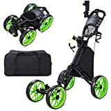 JINLLY Golf Push Cart, 4 Wheel Folding Golf Carts with Foot Brake and 5 Adjustable Heights, Collapsible Lightweight Golf Pull Carts with Umbrella Holder, Cup Holder, Scoreboard Holder for Golf Bags