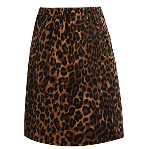 Damen Elastische Rock Leopard Geschredderte Jeans High Waist Stretch Midirock Knielang Split Rock Businessrock Bleistift Röcke Schwarz 2XL