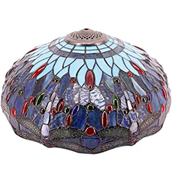 Tiffany Lamp Shade Replacement W16H7 Inch Stained Glass Dragonfly Lampshade Fir for Table Lamps Floor Lamp Ceiling Fixture  3 Hooks Inside Pendant Hanging Light S101 WERFACTORY Home Office Decoration