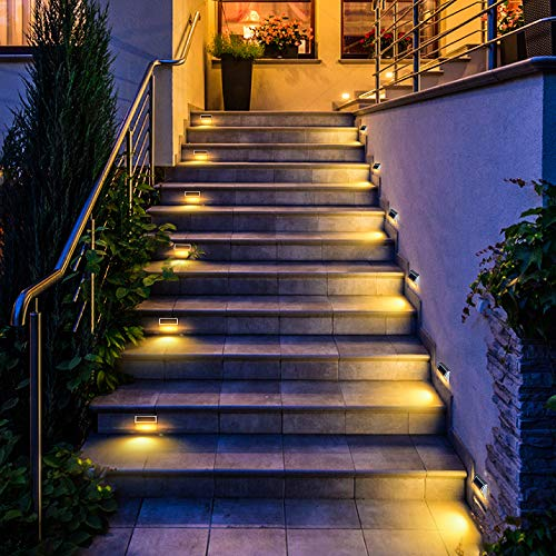DBF 30 LED Solar Step Lights Outdoor【6 Pack】Waterproof Solar Stair Lights Stainless Steel Solar Powered Deck Lights Auto On/Off for Porch Deck Steps Patio Stairs (Warm White)