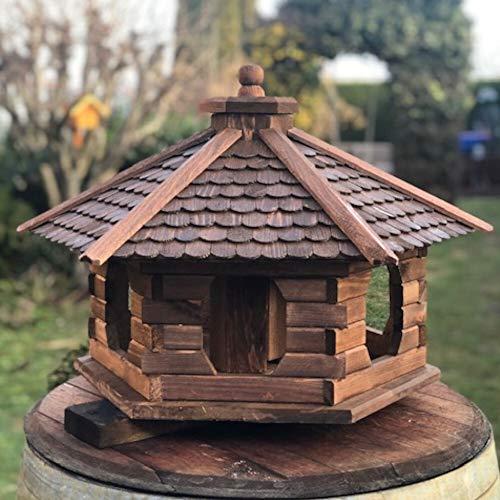 Darlux Vogelhaus Vogel Futter Haus aus Holz Futterstelle Dunkelbraun (Größe XL - ohne Ständer, Form: Sechseckig)