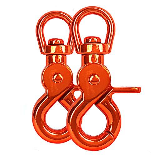 Ganzoo Lot de 2 mousquetons à tête rotative pour laisse de chien en acier allié 61 mm de longueur, également pour paracorde 550 / porte-clés - Couleur : orange