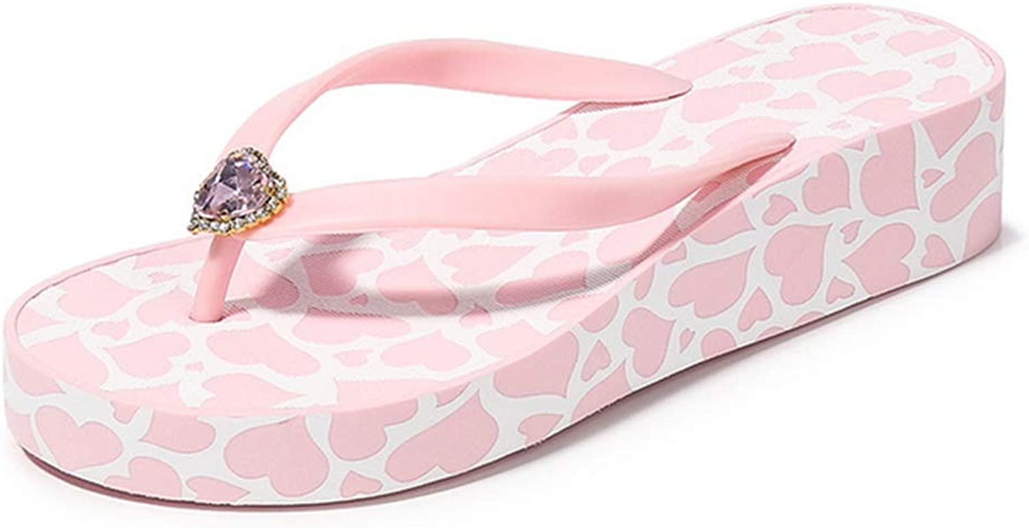 Women's Wedge Flip Flops Platform Sandals Summer with Rhinestones Rubber Slipper,Pink,37