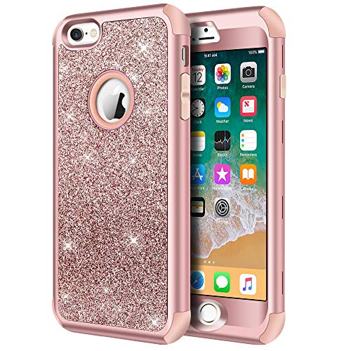 Hython Compatible with iPhone 6/6s Case, Heavy Duty Full-Body Defender Protective Case Bling Glitter Sparkle Hard Shell Hybrid Shockproof Rubber Bumper Cover for iPhone 6 and 6s 4.7-Inch, Rose Gold