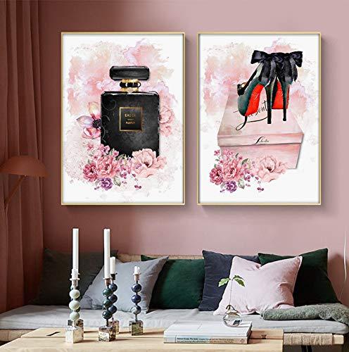 Flor rosa Perfume Carteles Tacones altos Pintura de la lona Maquillaje Arte de la pared Pinturas Moda Cartel Imágenes de la pared Decoración de la sala de maquillaje 2 Piezas 40 * 50 Cm * 2 Sin marco
