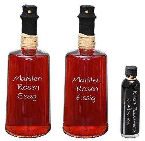 Wajos Marillen Rosen Aperitif Essig 3 % Säure 2 x 0,25 Liter I Sparset mit Oliv & Co. Kirsch Balsamico di Modena 40ml