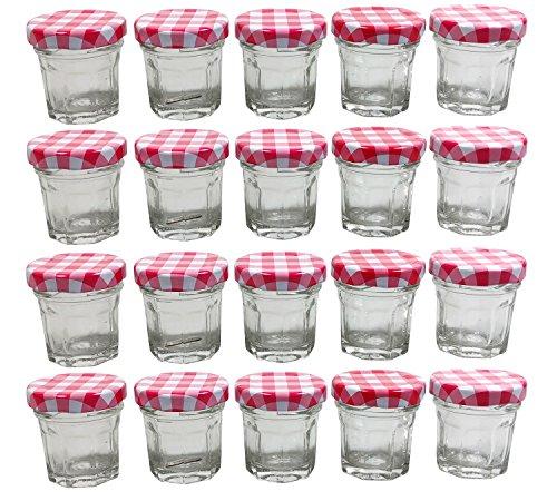 mikken 20 x Mini Einmachglas 30 ml, achteckige Marmeladengläser