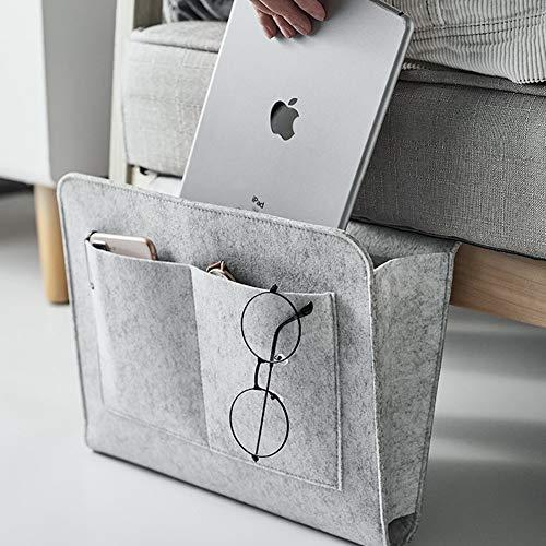 Betttasche, Sofa Organizer | Dicke Filz Anti-Rutsch Nachttisch Tasche für Buch, Zeitschriften, iPad, Handy, Fernbedienung