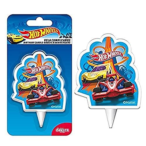 Dekora - Vela de Cumpleaños 2D Coches de Hot Wheels