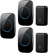 Self-Powered Wireless Doorbell, IP44 Waterproof Electric Doorbell, 2 Button and 3 Receivers, 3 Volumes, 38 Melody Options,...