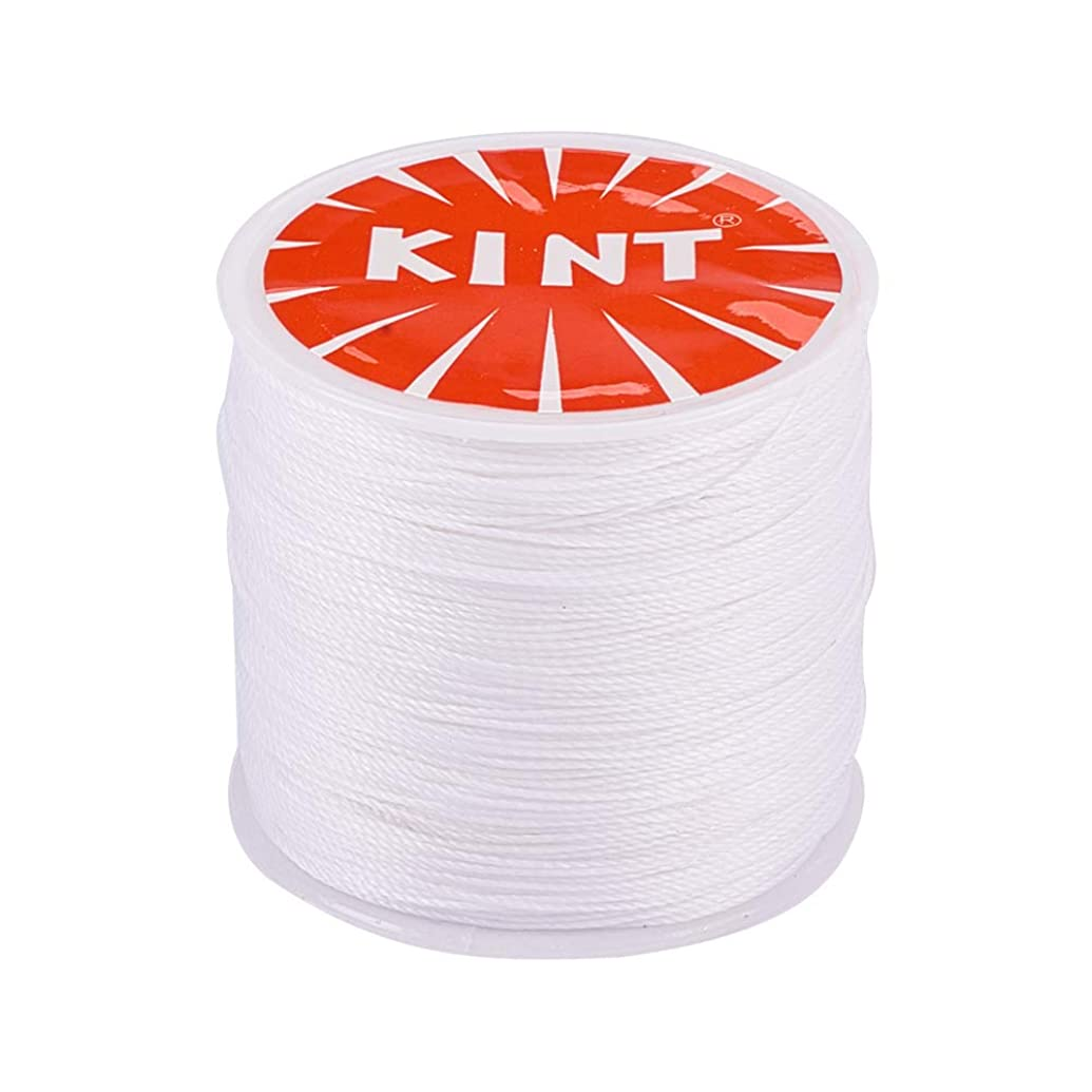 PandaHall Elite 1 Roll 0.5mm Round Waxed Cotton Cord Thread Beading String 116 Yards per Roll Spool for Jewelry Making and Macrame Supplies White