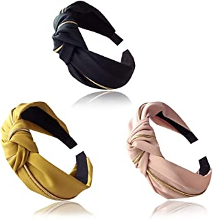 MEMOVAN 3pcs Wide Headbands Cross Knotted Hairbands Twisted Top Knot Head Band Elastic Hair Hoops Hair Band Hair Wrap Accessories for Women Girls Elegant Fashion Hair Organize