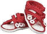 Jefferies Socks Baby Girls' Newborn Criss Cross Sandal Crochet Bootie, Red