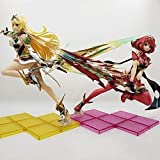 Skwingt Xenoblade 2 Pyra& Mythra Anime Sculpture of The Different Swords 2 Series of The Heavens Holy Cup Light Toy Model PVC Collection 28cm (Color : A+b)