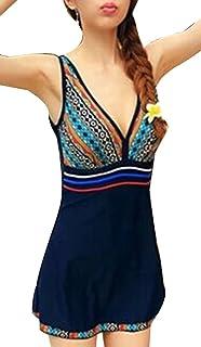 6e802251eed2c Kearia Women Hot One Piece Swimsuit Ruched Halter Push Up Slim Tankini Swim  Dress