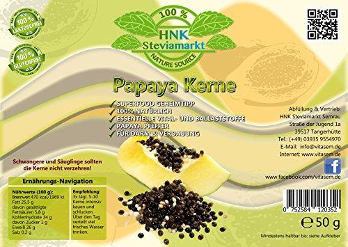 100% Natürliche Papaya Kerne - Papaya Pfeffer - Papaya Samen getrocknet (Bei unter 30°C) - Rohkost Qualität - Ohne Zusätze | Reich an Vitalstoffen | 50g Dose