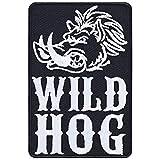 Wild Boar Hogs Aufnäher Wildschwein Aufbügler Biker Patch Pig MC Bügelbilder Rockabilly Sticker Geschenk Motorrad-Fahrer DIY Applikation für Jacke/Weste/Jeans/Motorradkoffer 60x90mm
