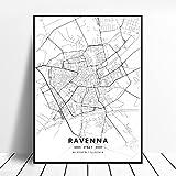 zhuifengshaonian Bari Rimini Catania Perugia Cagliari Ravenna Italia Mapa Lienzo Arte Cartel (ZW-104) Sin Marco Poster 40x60cm