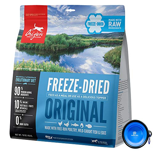 Orijen Freeze Dried Dog Food Snacks, Freeze-Dried Raw 16-Ounce Bag with Hot Spot Pets Food Bowl - Made in USA (Original)