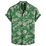 Dasongff Camisa para hombre con estampado, camisa de manga corta, holgada, holgada, holgada, para verano, estilo hawaiano
