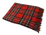 Irish Wool Blanket 100% Lambswool Tartan and Plaid 54' x 71'John Hanly Blanket Made in Co. Tipperary, Ireland Royal Stewart