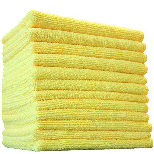 (12-Pack) 12 in. x 12 in. Commercial Grade All-Purpose Microfiber HIGHLY ABSORBENT, LINT-FREE, STREAK-FREE Cleaning Towels - THE RAG COMPANY (Yellow)