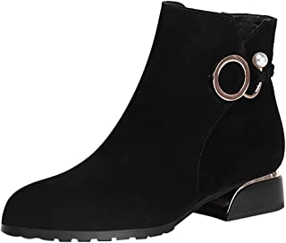 Women's Faux Suede Ankle Boots Pearl Buckle Strap Booties Low Chunky Heel Round Toe Elegant Short Boot Size Zipper Fall Winter Casual Shoes