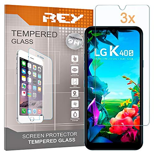 REY Pack 3X Panzerglas Schutzfolie für LG K40s, Bildschirmschutzfolie 9H+ Festigkeit, Anti-Kratzen, Anti-Öl, Anti-Bläschen
