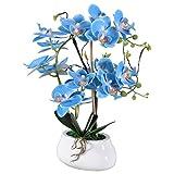 VIVILINEN Artificial Bonsai Orchid Phalaenopsis Arrangements Flower with Ceramics Vase for Home Office Decoration Party (Blue)
